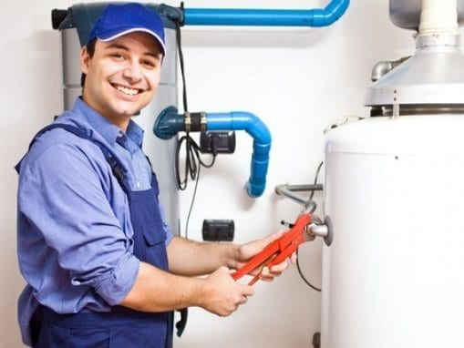 picture of man and water heater installation