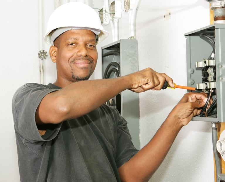 man working on electrical service