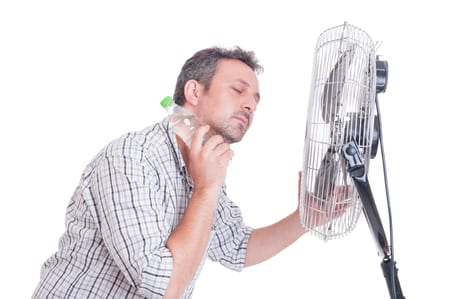 man over heating from the heatwave